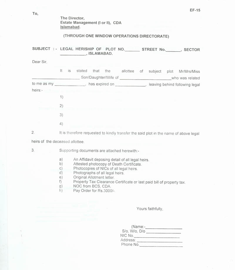 Format Of No Objection Certificate From Other Legal Heir