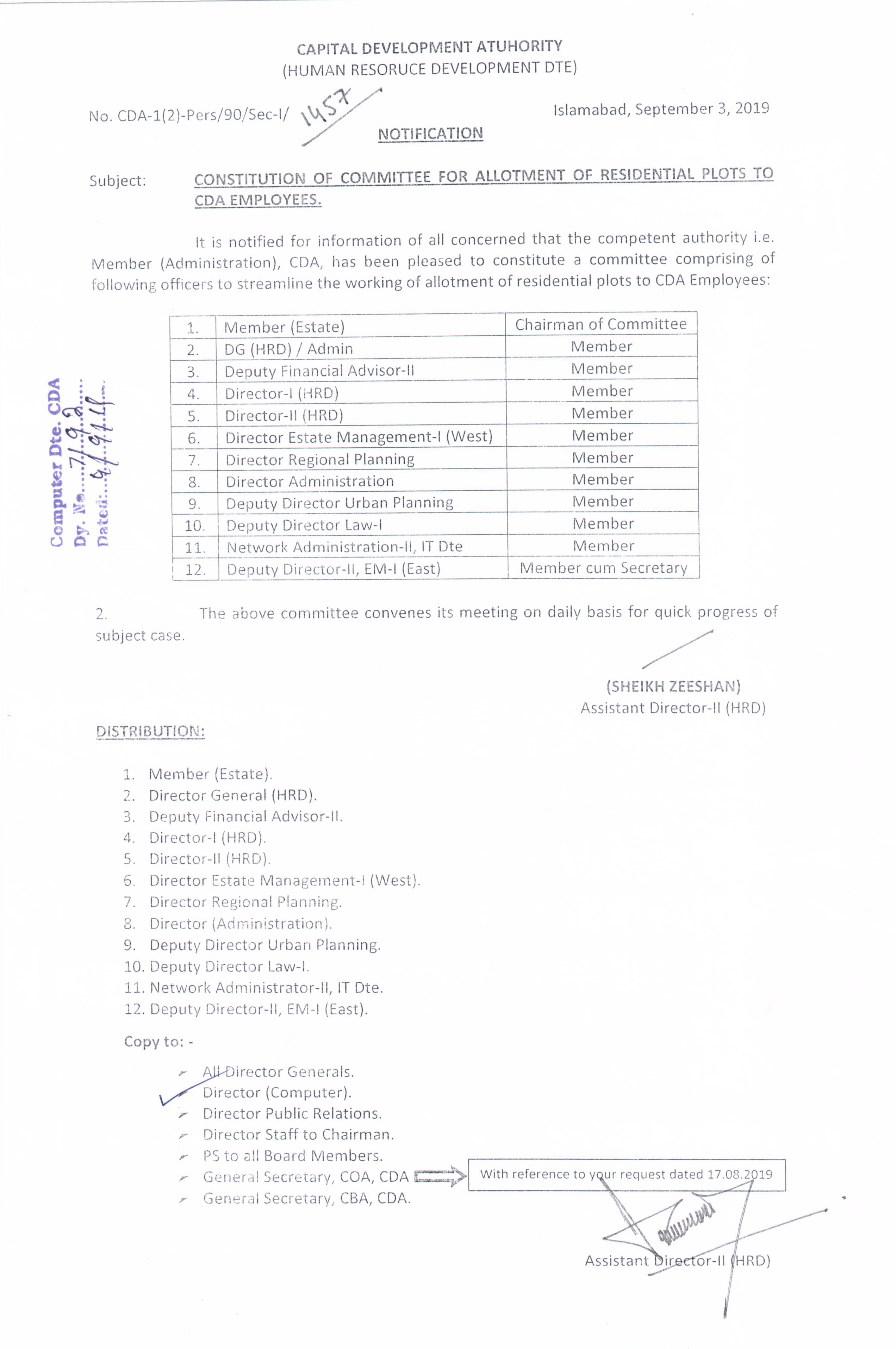 Admin Notifications CDA
